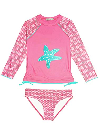 weVSwe Girls Rash Guard Swimsuit Rare Hem Cuffs Bathing Suit UPF 50+ Protection - - 5-6 Years