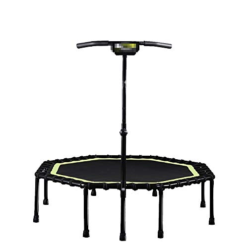 GHHZZQ Mini Trampoline, Used for Gym Household Good Flexibility Mute Foldable, T-shaped armrest, Bearing Capacity 325kg, black (Color : Black, Size : 114cm)