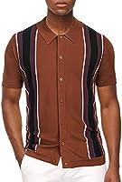 PJ PAUL JONES Men Striped Vintage Short Sleeve Knit Polo Shirt for Summer Spring