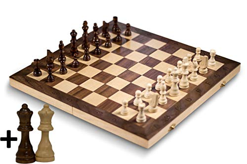 GrowUpSmart Smart Tactics 16' Folding Chess Set with Extra Queens Made by FSC Certified Wood - Standard Edition