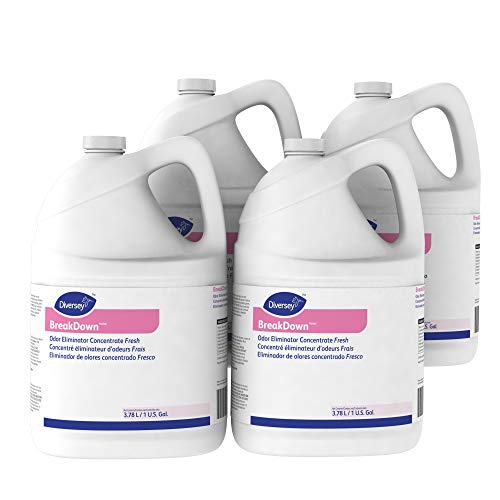 Diversey Breakdown Odor Eliminator - Fresh Scent - 1 Gallon Concentrate, 4 Pack (Packaging May Vary)
