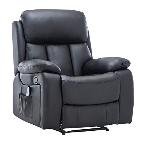 Warmiehomy Bonded Leather Recliner Chair with Massage and Heat Armchair Sofa Reclining Chair for Living Room (Black)