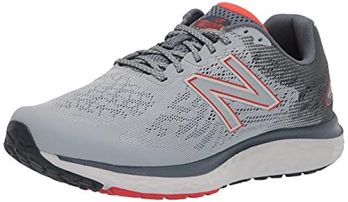 New Balance Men's Fresh Foam 680 V7 Running Shoe, Grey/Ghost Pepper/Black, 10.5