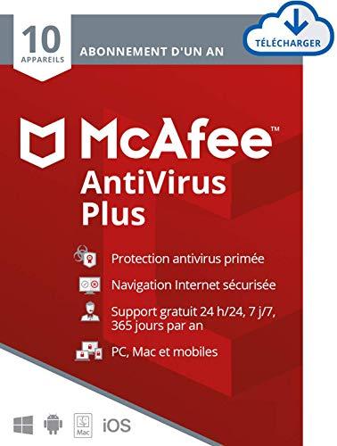 McAfee Antivirus Plus 2021 | 10appareils | 1 an| Antivirus, pare-feu, anti-phishing | PC/Mac/Android/iOS |Édition européenne| Download