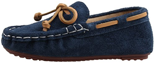 LIYZU Boy's Girl's Loafers Suede Slip-on Outdoor Casual Shoes(Toddler/Little Kid) US Size 5 Blue