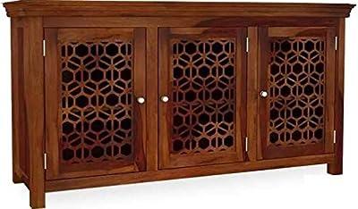 Shilpi Handicrafts New Net Design Stylish Look or Standard Size Multipurpose Storage Sideboard in 3 Doors Cabinet