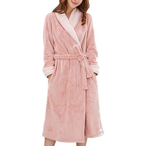 Bata Baño Mujer Robes Mantando Cuello Albornoz Coral Fleece Campo de Manga Larga para el Baño Viajes de Salón Loungewear (Color : Pink, tamaño : X-Large)