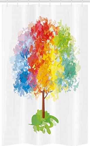 ABAKUHAUS Regenbogen Schmaler Duschvorhang, Abstrakte Baum Natur, Badezimmer Deko Set aus Stoff mit Haken, 120 x 180 cm, Gelb Grün