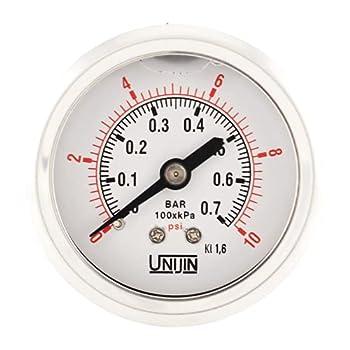 Unijin P251 Series 2  Dial Oil Filled Pressure Gauge w/ Brass Internals 0-10 PSI/kPa ±1.6% Accuracy 1/8  NPT Back Mount