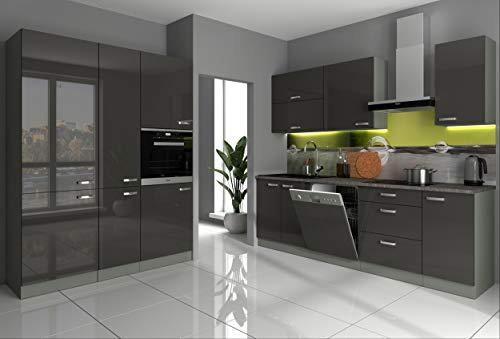 Küche Bianca II 240+160 Küchenzeile Hochglanz Grau Küchenblock Einbauküche Grey