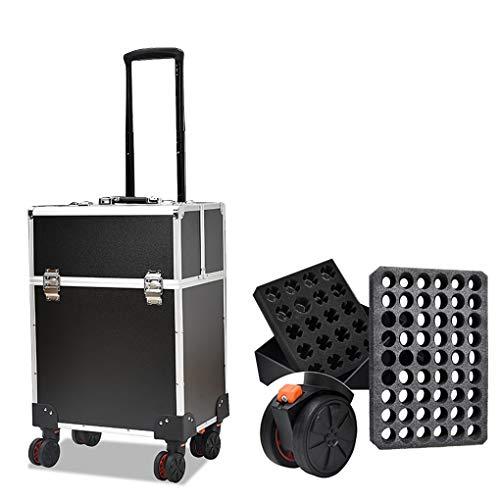 AOHMG 2 en 1 Maquillage Valise Trolley, Aluminium Maquilleur Valise De Maquillage Professionnel, avec 4 Roues Amovibles Valise Professionnelle pour Coiffeurs,Balck