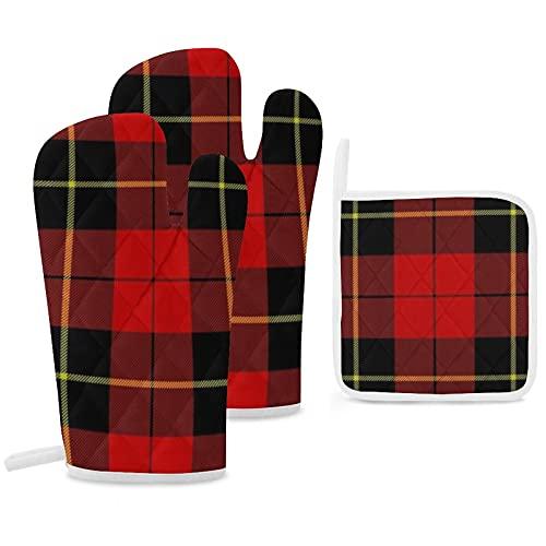 Wallace Clan Lot de 3 maniques et maniques antidérapantes réutilisables pour la cuisine, la pâtisserie, le barbecue