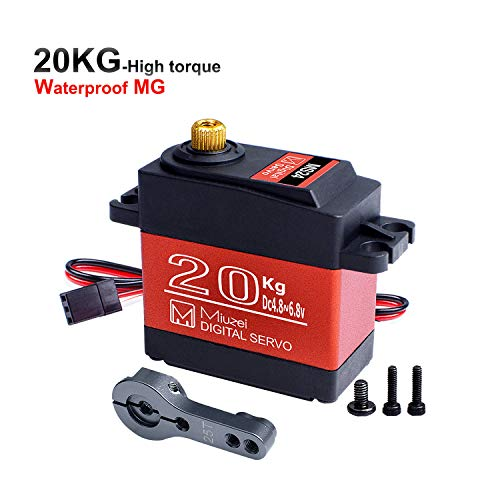 Miuzei 20KG Servo Motor High Torque Digital Servo Metal Waterproof 1/10 Scale Servo for R/C Car Robot, DS3218 Control Angle 270°