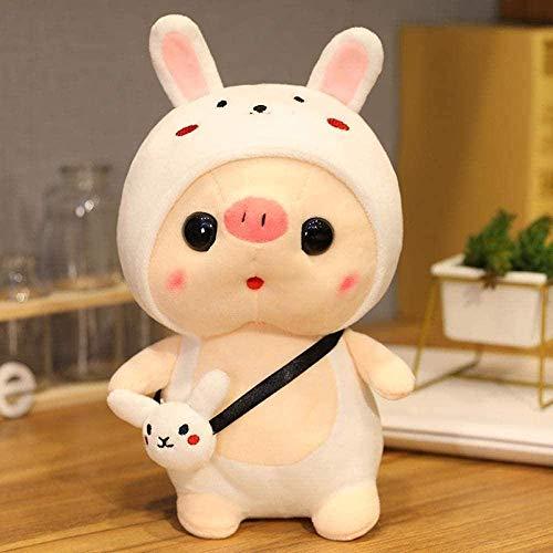 LINQ 25 / 35cm Kawai Plüsch Schweine Tragen Sie einen Hut Transformation Plüschtier Puppe Weiche Kissen Pelz Puppe Baby Spielzeug 35 cm_Rabbit_China Qianmianyuan
