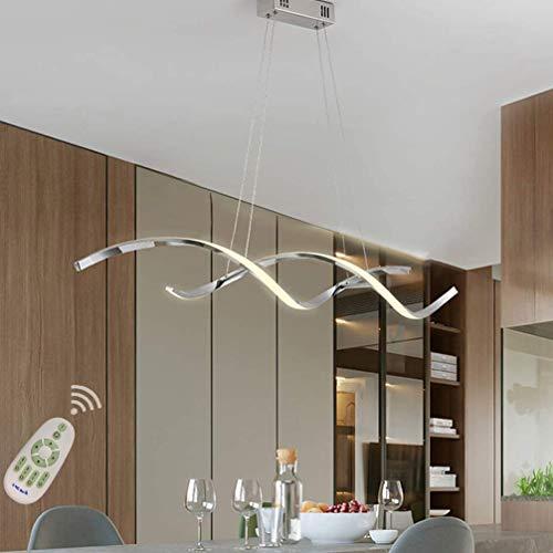 Esszimmerlampe LED Hängeleuchte Dimmbar Esstischlampe Bürolampen Hängend Decke Deko Lampe, Esstisch Hängelampe Modern Art Design Acryl-schirm Pendelleuchte für Wohnzimmer Diele (Chrom, L110*H15cm)