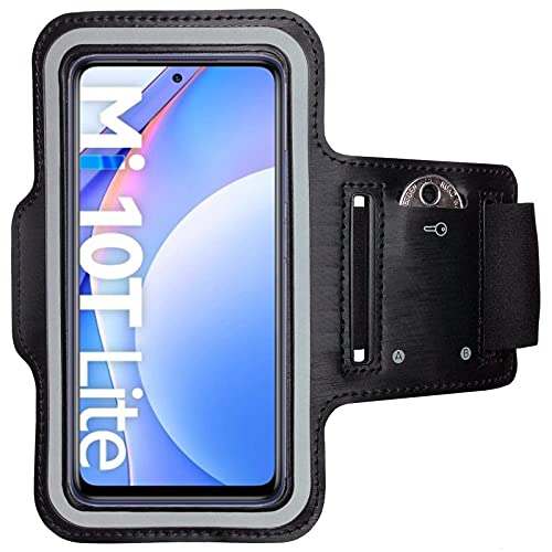 CoverKingz Brazalete deportivo para Xiaomi Mi 10T Lite 5G – Funda de brazo con compartimento para llaves Mi 10T Lite 5G – Brazalete deportivo para teléfono móvil negro