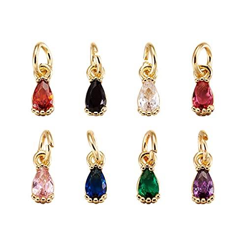 Cheriswelry 20 colgantes de circonita cúbica con forma de lágrima de cristal, pequeños colgantes con anillos de salto, chapados en oro de 18 quilates para hacer collares de joyería