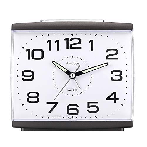 Ayybboo Reloj Despertador Analógico, Despertador Silencio con Luz Sin Tictac Reloj de Mesa Simple con Snooze Reloj Despertador Dormitorio Estudio Despertadores para Niños (Negro)