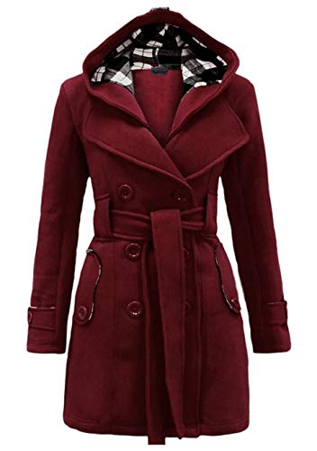 EFOFEI Womens Jacket Double Breasted Wool WinterCoat with Hood Burgundy 2XL