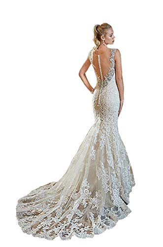 Melisa Women's Lace Appliques Sleeveless Mermaid Wedding Dresses for Bride with Train Illusion Back Bridal Gowns White