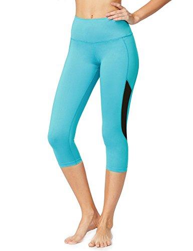 Baleaf Women's High Waist Tummy Control Mesh Yoga Capri Leggings Blue Size L