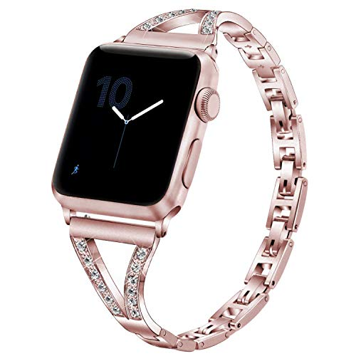 PUGO TOP Compatible with Apple Watch Bracelet Band 40mm Series 6 5 4 SE 38mm Series 3/2/1 Iwatch Iphone Watch Bangle Link Band Cuff Women Bling(38/40mm, Rose Gold)