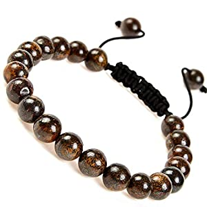 Massive Beads Natural Healing Power Gemstone Crystal Beads Unisex Adjustable Macrame Bracelets 8mm (Bronzite)