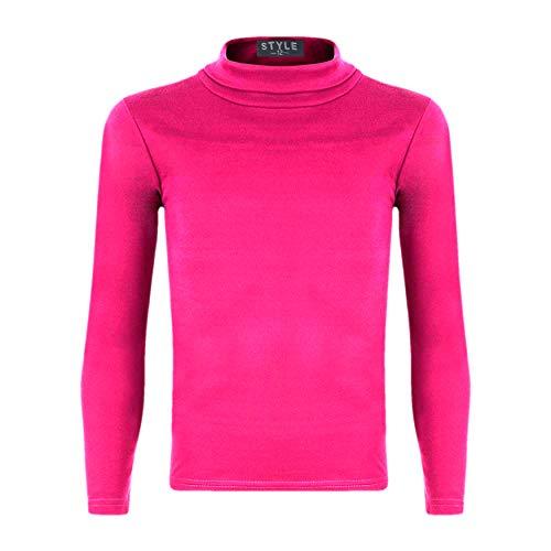 Girls Turtleneck Long Sleeve Plain Basic Top Kids Boys Jersey Polo Tops Colour: Hot Pink