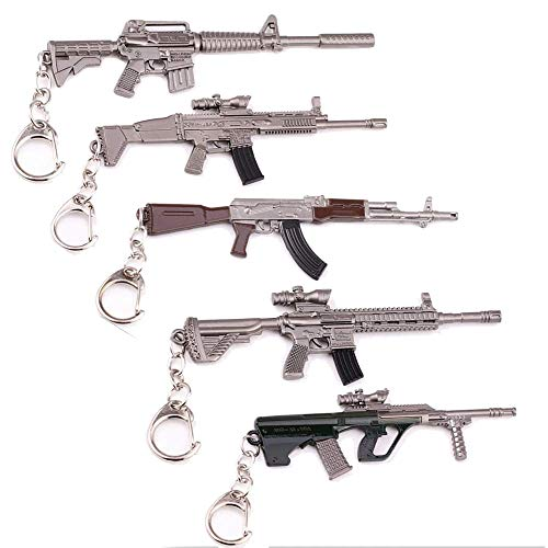 5 Pcs Metal Keychain, PUBG Arms Gun Keychain Accessories Weapons Gun Sniper Rifle Toy Metal 3D Model Size 12 CM, Keyrings Gift Collection The Best Gift for Game Lovers [M16A4 Scar-L AKM M416 AUG]