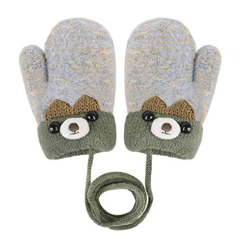 YSXY Süße Fäustlinge Baby Kleinkind Gestrickte Handschuhe für 1,2,3 Jahre Jungen Mädchen Winter Warme Strickhandschuhe mit schnur Fleece-Innenfutter, Grau, Einheitsgröße