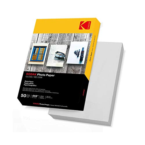 Kodak Carta Fotografica High Gloss, A6, 100x150 mm, 180 g/m², 50 Fogli, Bianca