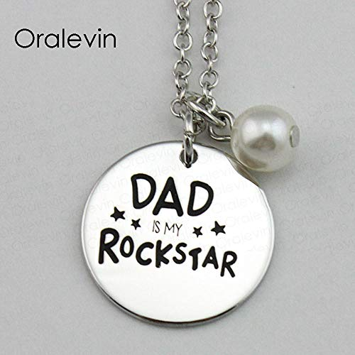 NCDFH DAD is My Rockstar Inspirational Hand Stamped Engraved Accessories Custom Charms Pendant Necklace Jewelry 10Pcs/Lot Bracelet