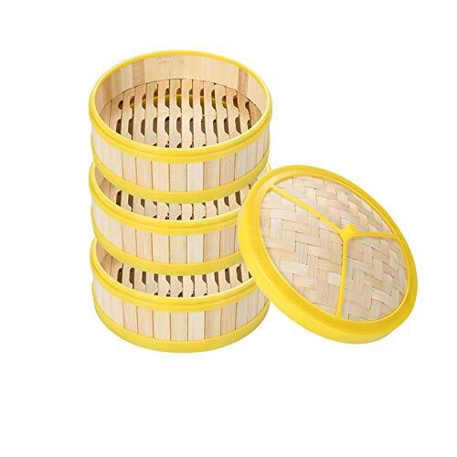 DFBGL Juego de vaporera de bambú con 3 Capas y Tapa, Cesta de bambú, vapores orientales para cocinar al Vapor, Cocina para cocinar, Utensilios de Cocina