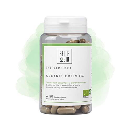 Belle&Bio - Thé Vert Bio - 120 gélules - 70 mg/gélule - Brûleur - Capteur - Certifié Bio par Ecocert - Fabriqué en France