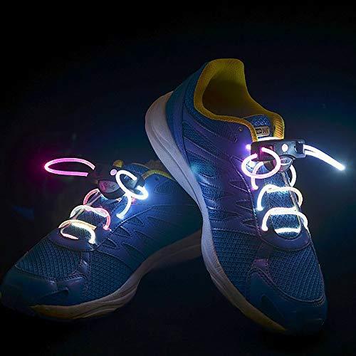 KAILUN Led Cordones Brillantes Cordón Luminoso Encaje Intermitente para Niños Decoración De Ocio Danza Deportes Corriendo Luz De Advertencia,Pink