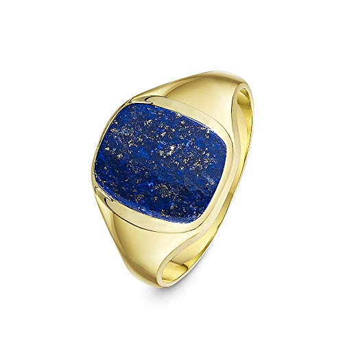 Theia Men's 9 ct Yellow Gold Cushion Shape Blue Lapis Stone Signet Ring with 12 x 10 mm, Size N