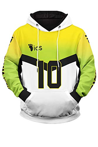 Enhopty Herren Damen Kapuzenpullover Sweatshirt Print Pulli Tops Jacke Pullovershirt Sweatjacke Outwear Oberteile Hoodies Jumper Kapuzen Itachiyama Academy Volleyball Club Kiyoomi Sakusa NO.10 M