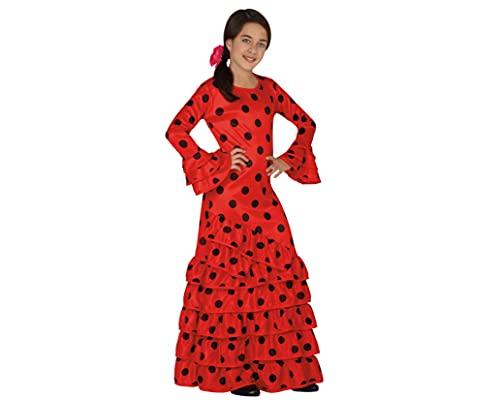 Atosa - Disfraz de flamenca para niña, color rojo, talla M, 5-6 años (111-26531)