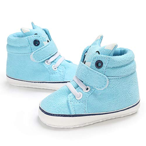 Tangbasii Baby Schoenen, Pasgeboren Baby Jongens Meisjes Cartoon Fox High Cut Sneakers Anti-Slip Prewalker Schoenen 13cm Lichtblauw