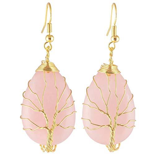 KYEYGWO Kristallstein Baumeln Haken Hängende Tropfenform Ohrringe mit Goldene Wickelnde Kupferdraht,Rosenquarz