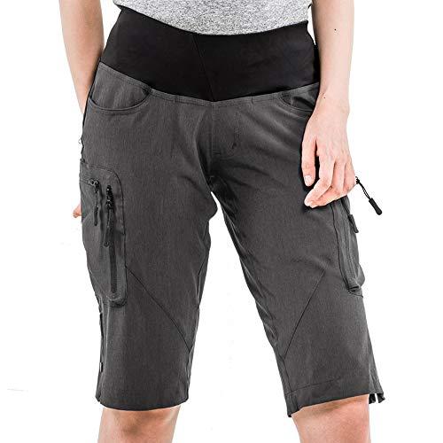 Cycorld MTB Hose Damen Radhose, Schnelltrocknend Mountainbike Hose mit Innenhose und hochwertigem Sitzpolster, Atmungsaktiv MTB Shorts Fahrradhose Damen Outdoor Bike Shorts (2XL,Dunkelgrau) - 2
