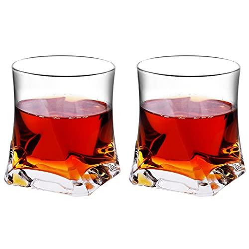 Juego De 2 Vasos De Whisky Vaso De Whisky con Forma De Vidrio Sin Plomo para Cócteles Whisky Bourbon Regalos para Hombres (Color : Clear, Size : 8.5×9.6cm)