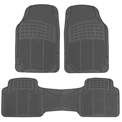 BDKHeavy Duty Car Floor Mats - Universal for Car Truck SUV - Full 3pc Set in Gray