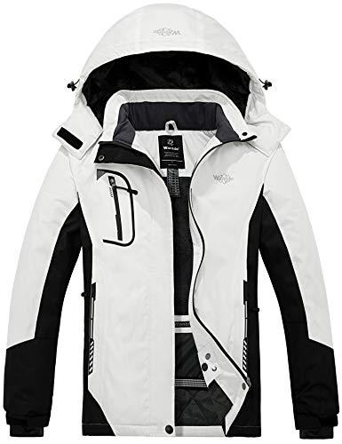 Wantdo Women's Winter Warm Ski Jacket Outdoor Rain Jacket White & Black XX-Large