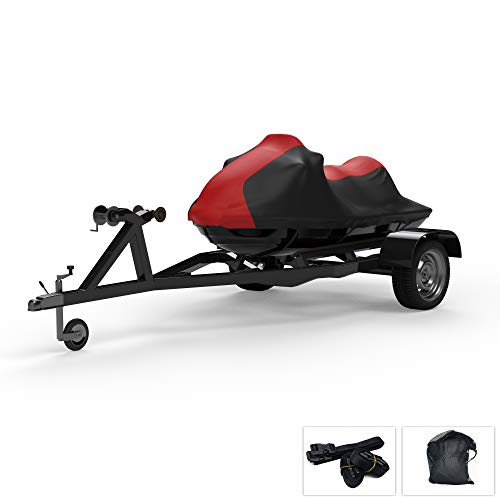 Weatherproof Jet Ski Cover Compatible with 2015-2019 Yamaha Wave Runner VX Cruiser HO - RED / Black Color - Trailerable - Protects from Rain, Sun, and More! Includes Trailer Straps and Storage Bag