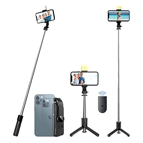 Palo Selfie Trípode,Selfie Stick con Rotación de 360° con Mando a Distancia, 4 en 1 Mini Palo de Selfie Extensible con Luces con IPhone 12 Pro Max,12 Mini11 Pro Max,Samsung S20 Plus,Huawei etc
