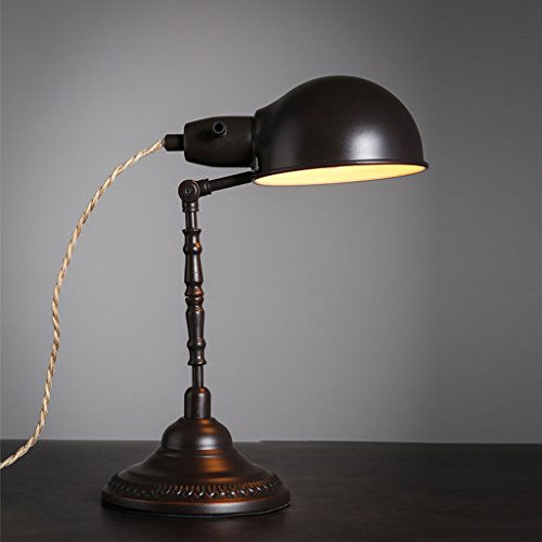 CKH Oude retro lampenkap bureaulamp ijzer kunst bureau leeslamp slaapkamer nachtkastje lamp lamp arm houder draaibare stekker knop schakelaar