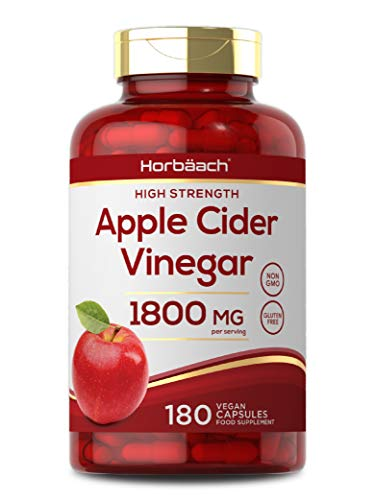 Apple Cider Vinegar 1800mg | 180 Vegan Capsules | High Strength | Non-GMO, Gluten Free Supplement