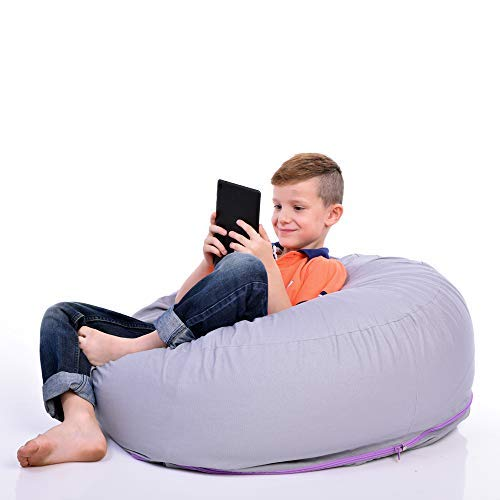 2 Sizes in 1 Large Bean bag Stuffed Animal Storage   XL Jumbo Ottoman for Soft Toys, Plush Toys   Giant Pouf Organizer for Linens, Quilts, Pillows   300 L. / 80 Gal.   42'   Purple Grey