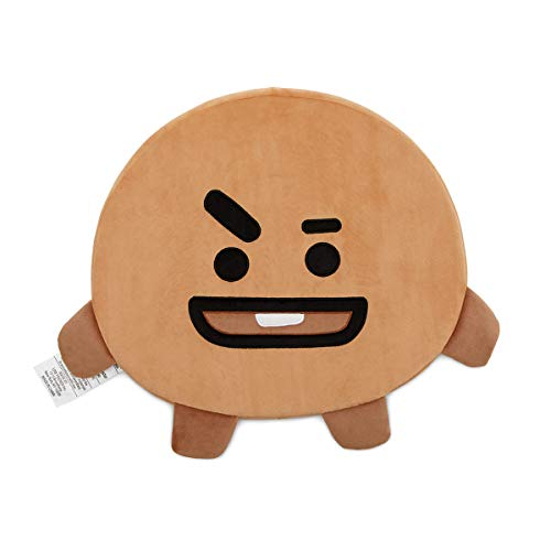 BT21 Official Merchandise by Line Friends - Shooky Character Face Sitting Cojín Asiento Suelo Sofá Almohada, Beige
